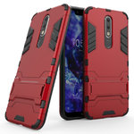 Slim Armour Tough Shockproof Case & Stand for Nokia 5.1 Plus - Red